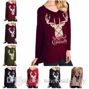 Long Sleeve T-shirts Xmas Shirts Women Christmas Letter Tops Plus Size V Neck Casual Pullover Deer Elk T-Shirt Tees Blouses Blusas A6472