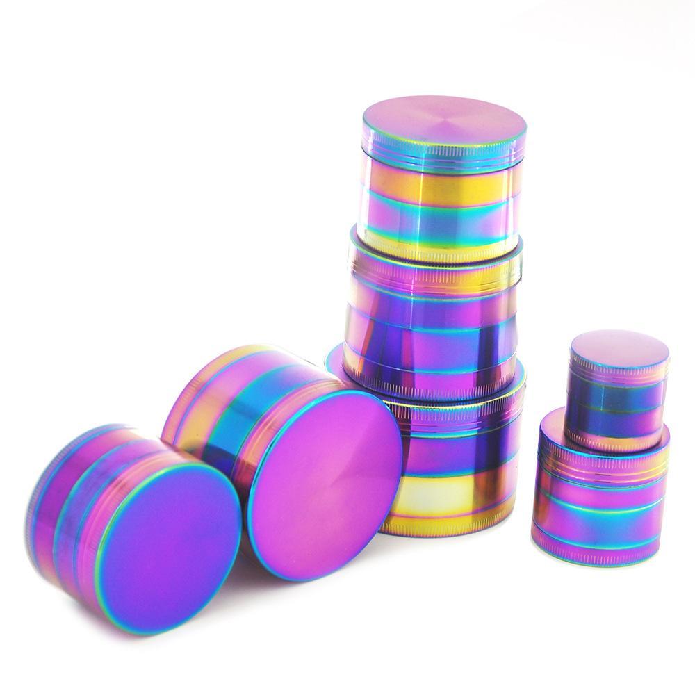 Rainbow amoladoras de aleación de zinc metal Amoladoras 40/50/55 / 63mm de diámetro 4 Partes Molinillos de hierba fumadores 30pcs Accesorios CCA11840