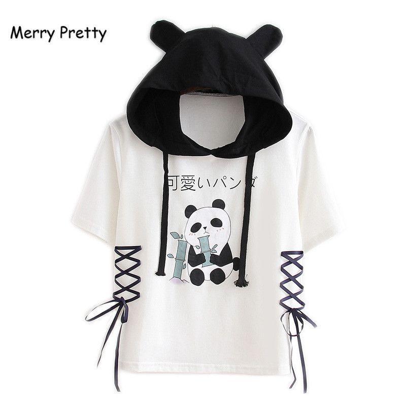Merry Mulheres Bonitas Com Capuz Camisas 2018 Manga Curta Lace Up Patchwork Algodão Camiseta Para Femme Panda Dos Desenhos Animados Impresso Tops de Culturas Y19060601