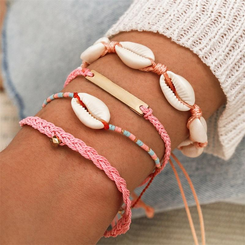 Bohemian Women Bracelets Set Natural Shell Geometric Colorful Woven Rope Adjustable Bracelet Summer Beach Party Jewelry