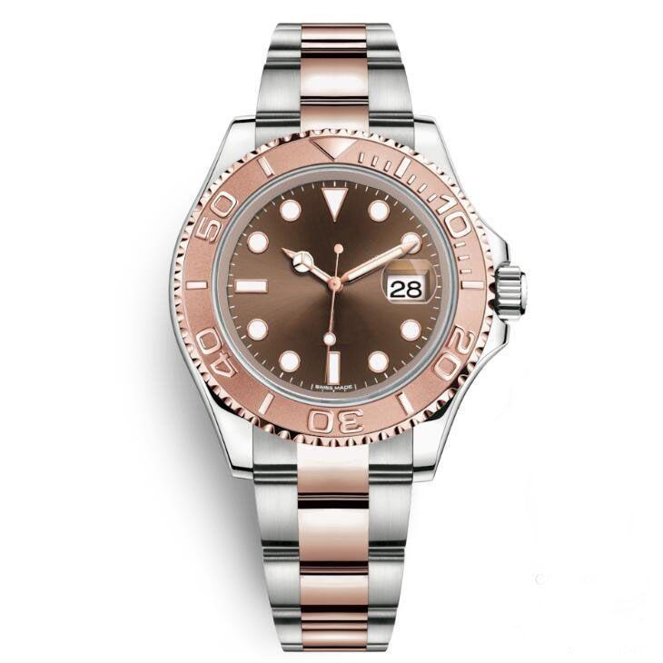 أفضل نوعية وردة نوع ذهب ساعة اليد الرياضة الميكانيكية التلقائية 2813 حركة الفولاذ المقاوم للصدأ Waterpoor الرجال الرجال ووتش ساعات المعصم