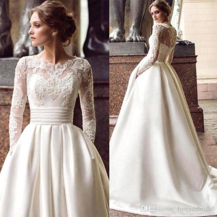 Nueva elegante Sheer raso vestidos de novia de encaje apliques Bateau manga larga más el tamaño de vestido de novia de novia Vestios
