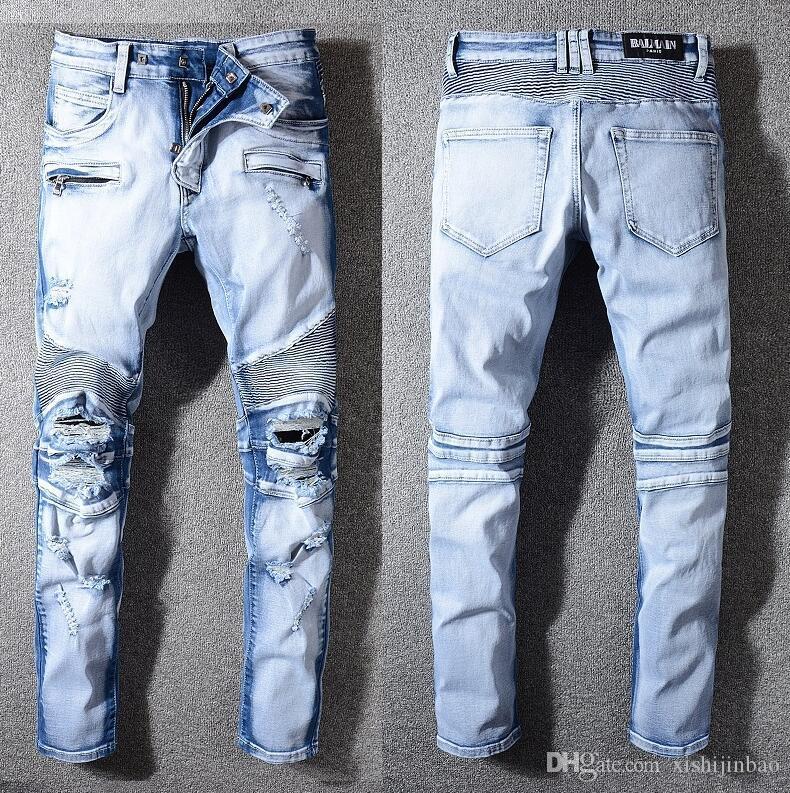 Compre Nuevos 2019 Jeans Para Hombres Moda Casual Europeo Y Americano Pantalones Largos Para Hombre De Primavera Y Otono Ba1076 Off White Balmain Philipp Plein Dsquared2 Dsq2 D2 Gucci A 63 87