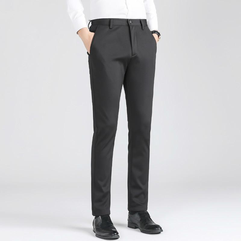Negro Invierno juego de pantalones para hombre Pantalones macho Long traje pantalón formal del vestido de los hombres de negocios Slim Fit Stretch Plus Tamaño 6xl
