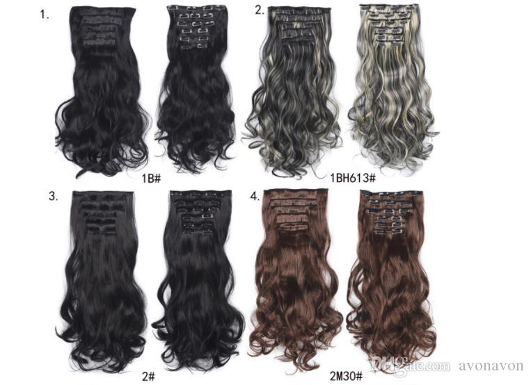 6pcs/set Synthetic Ponytails Clip In On Hair Extensions Pony tail 24inch 150g synthetic Curly Wavy hair pieces more 20colors Optional FZP168