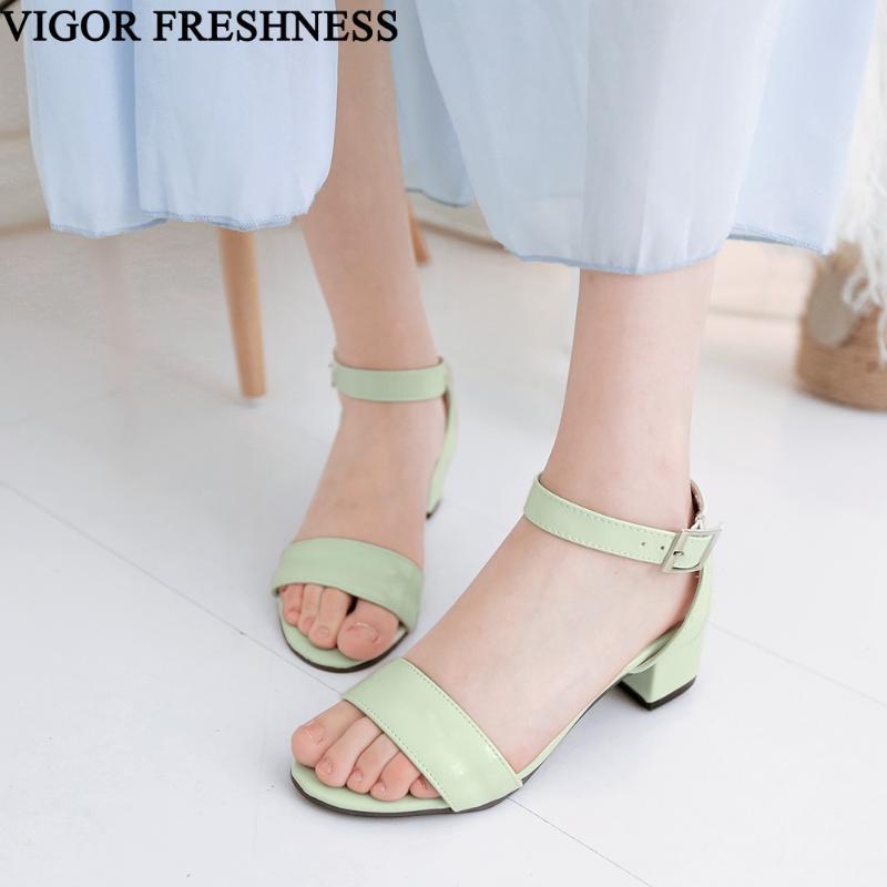 VIGOR FRAÎCHEUR Chaussures Femme Sandales d'été avec boucle cheville Sandales Tailles 30-50 Talons Gladiator 4.5cm femme Chaussures MY476