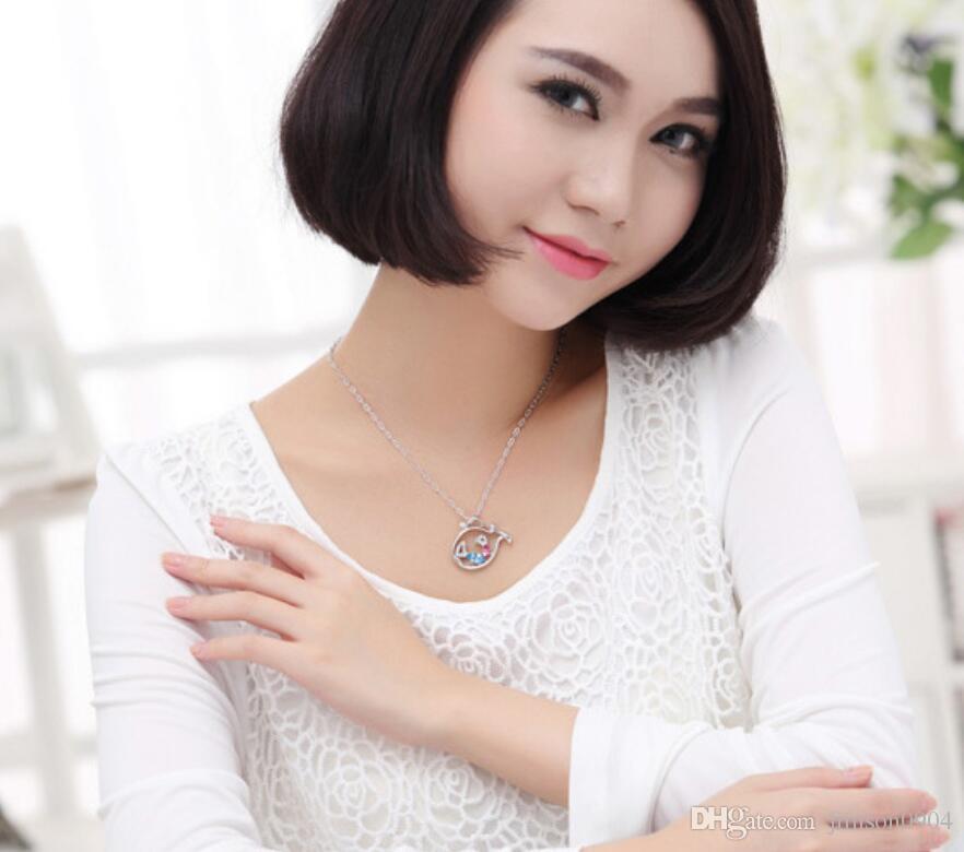moda Originalità gioielli Made in China Donna Ornamenti Utilizzando Swarovski Elemental Crystal Necklace aromatico Cartoon Whale Pendant girl