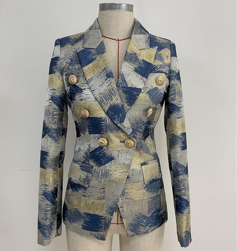 Top Qualität Neue Persönlichkeitsstil Original Design Frauen Zweibrustige Slim Jacke Metall Schnallen Blazer Metallic Jacquard Business Wear