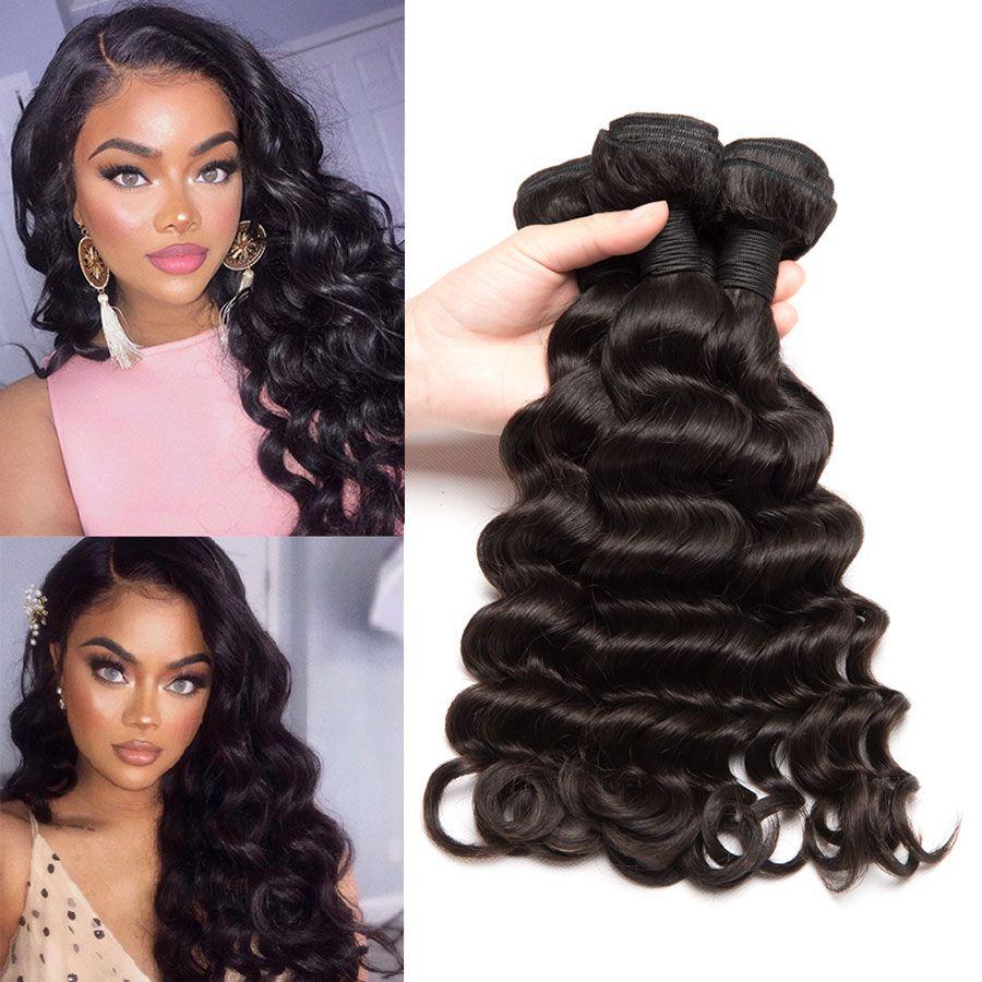 Loose Deep Wave Curl Brazilian Hair Weave Bundles Natural Color Loose Deep Wave Hairstyles Brazilain Bundles Loose Deep Waves Short Hair Big Curly