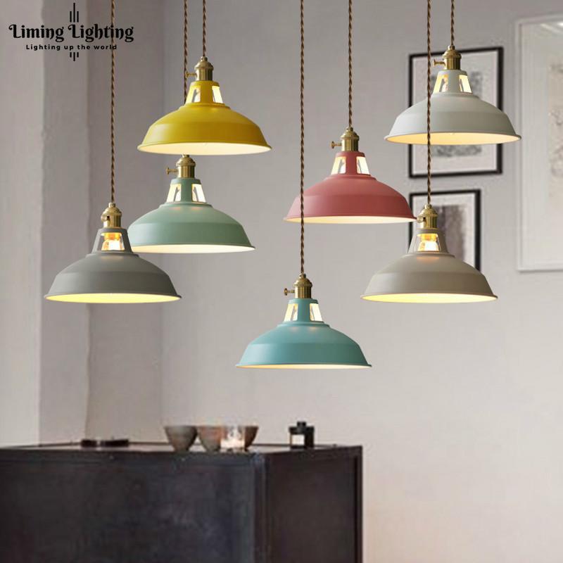 Multicolor cortina LED Macarons luces pendientes Restaurante moderno Lámpara con interruptor de lámparas más torcida del alambre Decoración Iluminación