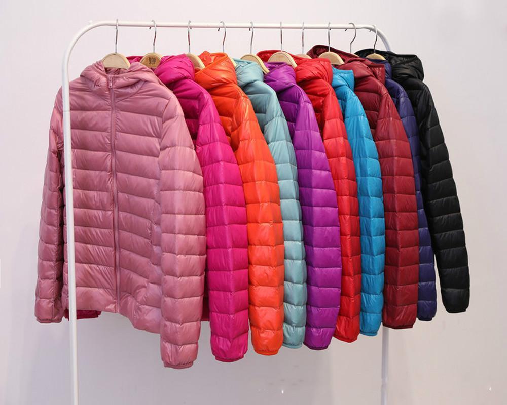 фуга куртка Женщина Весна проложенного Теплое пальто Ultra Light уток вниз ватник Короткие женщины Шинель Тонких Твердые пальто 3XL