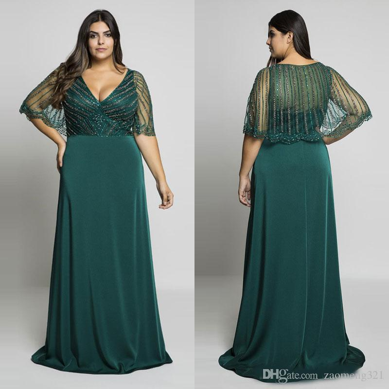 Hunter Green Beading Plus Size Prom Dresses V Neck Evening Gowns With Wrap  A Line Floor Length Long Formal Dress Plus Size Dresses Cheap Plus Size ...