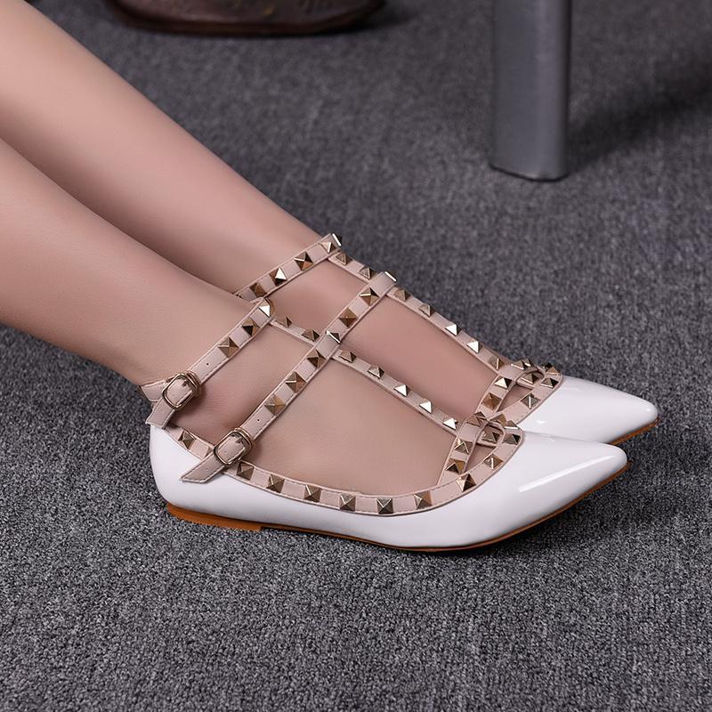 Arbeiten Sie flache Schuhe Damen Sandalen hochwertige hellen Lederschuh europäischen Stil Designer-Marke Sandalen Schuhe mit Kasten