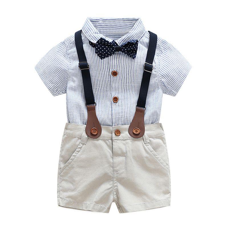 Ropa para bebés para el verano 1 2 3 años niños vestido de novia guapo niño ropa conjunto
