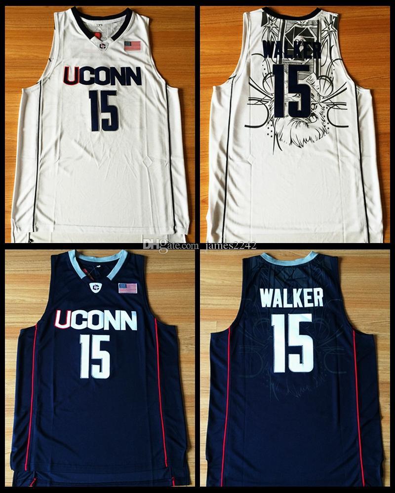 Kemba Walker Jersey # 15 Uconn Huskies cousu Jersey de basketball chaud S-XXL bleu marine Blanc Blanc Livraison gratuite