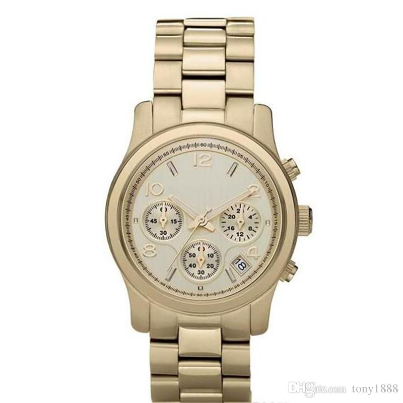 Hot sell Drop shipping Top quality women quartz watches stainless steel watch MK5055 MK5076 MK5128+box