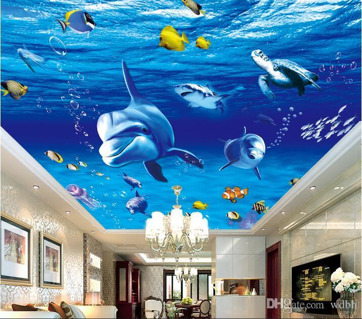 3d murais de teto papel de parede personalizado foto Submarino mundo golfinho peixe fundo home decor sala de estar 3d papel de parede mural papel de parede para paredes 3 d
