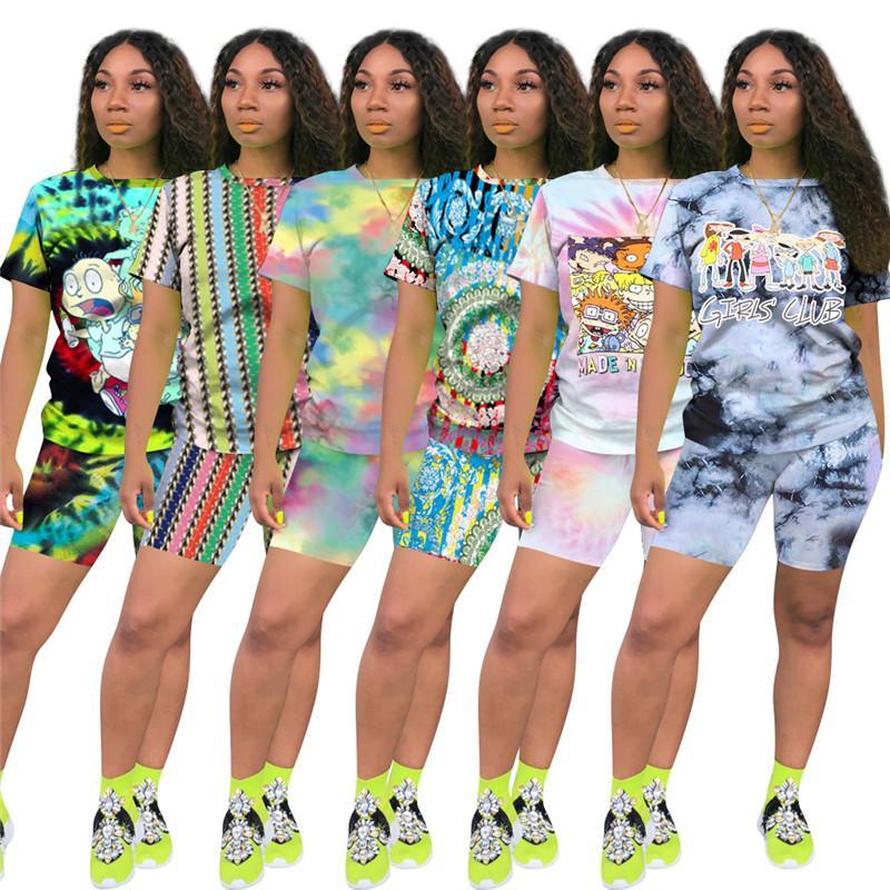 Drucken Mode Frauen Shorts Anzug Sommer Kurzarm T-Shirt Tops + Shorts 2-teiliges Set Outfits lässige Sportswear Diskothek Anzug 6 Farbe