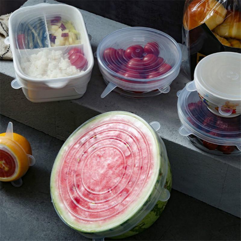 Пищевая силикона шесть частей крышки свежего учета простирание универсальной чаша крышка холодильник микроволновка запечатана пластмассовая обертка