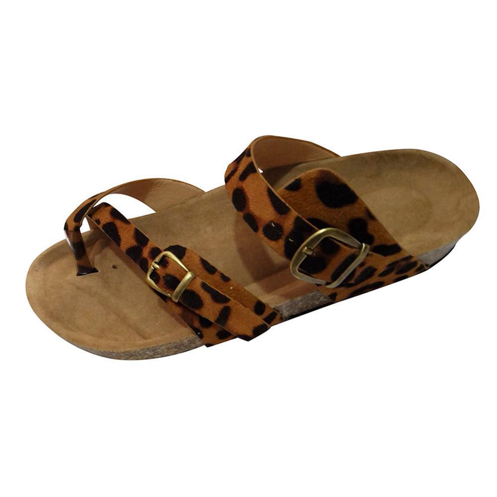 Retro Women Beach Cross Toe Strap Flats Sandals Shoes Thick-Soled Cork Slipper