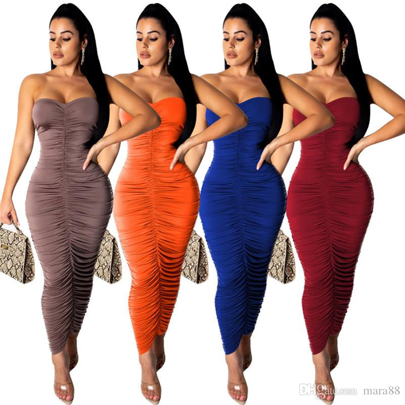 Women sexy maxi dresses ruched solid color strapless mid-calf dresses sleeveless backless casual bodycon dress summer clothes new style 796