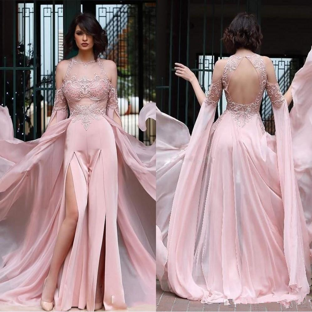 2020 Blush Pink Pant Suit Split Sides Prom Dresses with Chiffon Overskirts Lace Applique Sheer Neck Jumpsuit Evening Dress