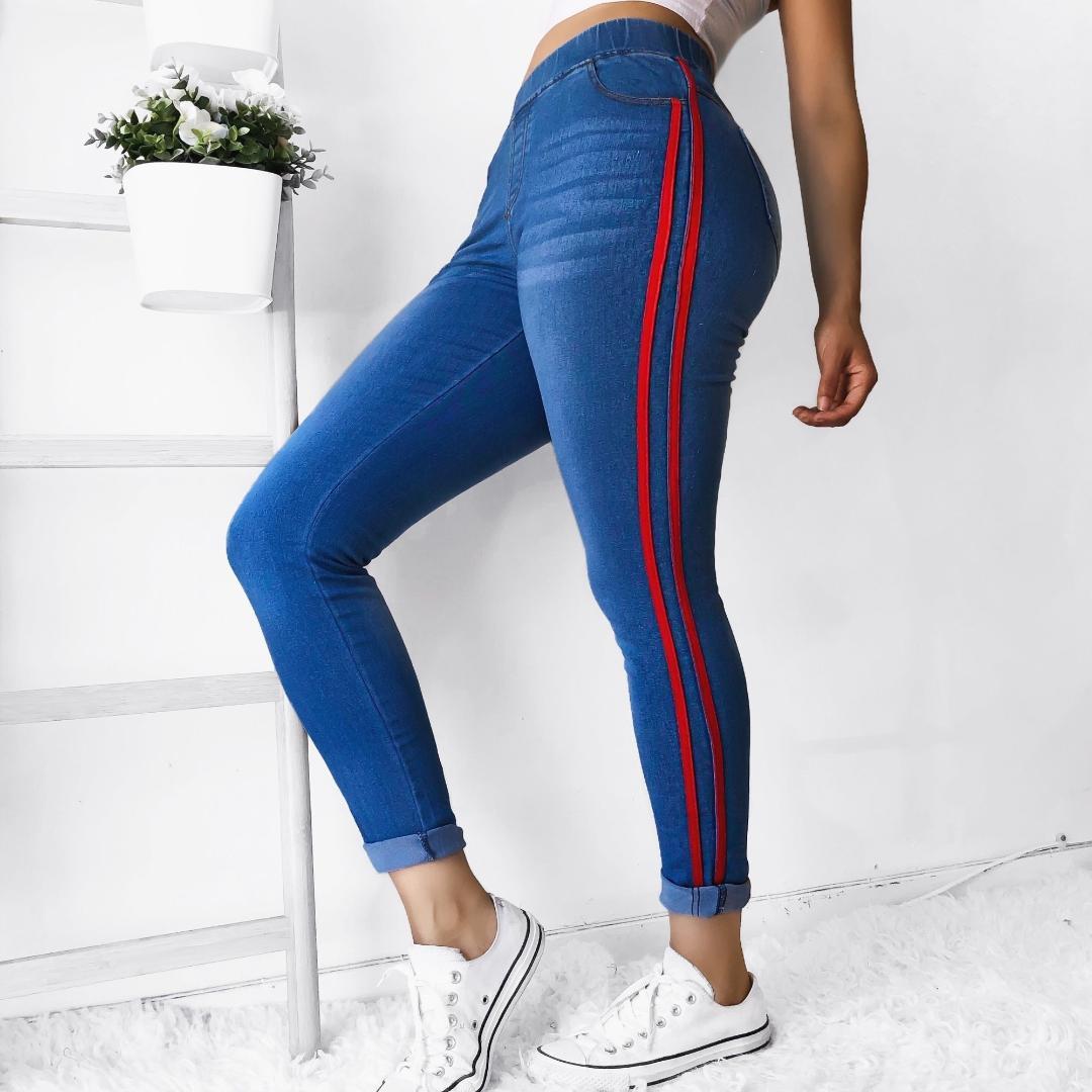 HEFLASHOR 2018 인기있는 사이드 스트라이프 여성 청바지 높은 허리 스키니 청바지 새로운 섹시한 코튼 데님 레깅스 팜므 바지 큰 크기