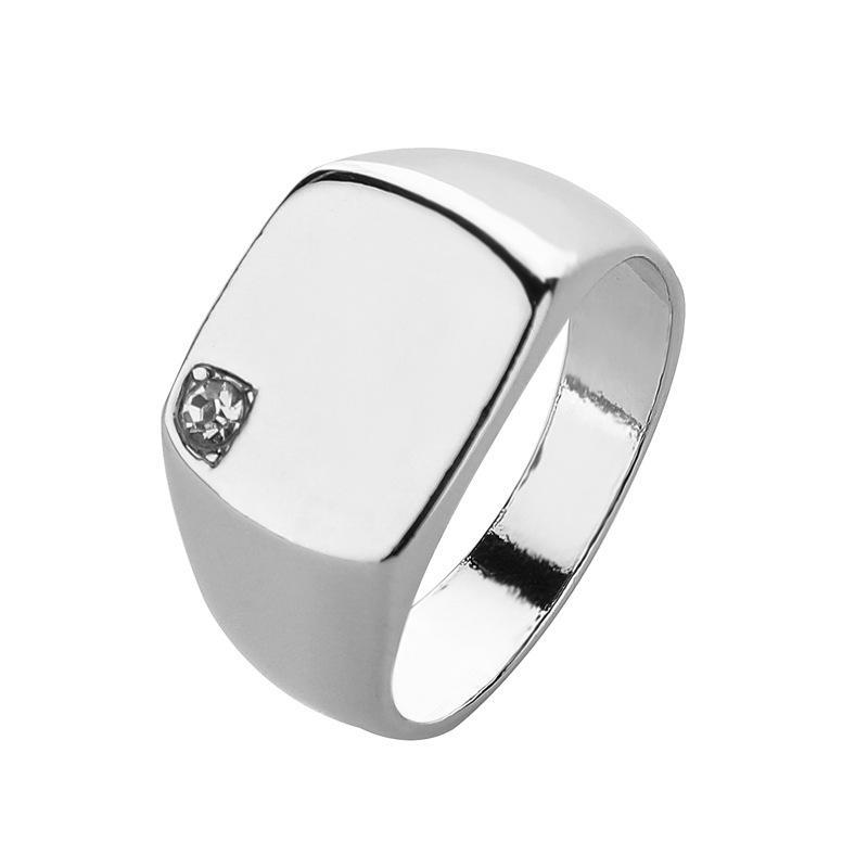새로운 남자의 간단한 광택 크리스탈 빛 블록 스퀘어 링 플레이트 모조 티타늄 강철 손가락 반지 큰 너비 죄지 링 뜨거운 판매