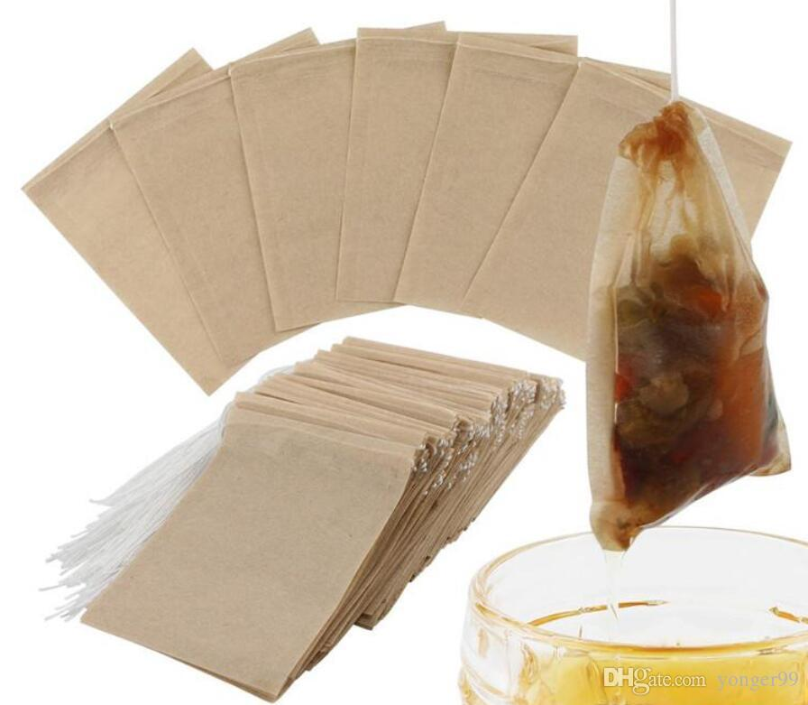 100pcs / Lot Chá Bolsas Filtrantes Natural Unbleached papel do saquinho de chá descartável Tea Infuser saco vazio com cordão para Ervas Coffee 6 * 8 centímetros