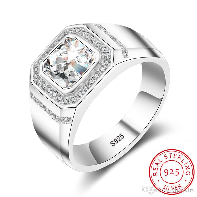 Luxury 100% 925 Sterling Silver Ring 1 Ct 6mm Diamant CZ Ring Wedding Engagement Party Gift Fine Jewelry For Men M034