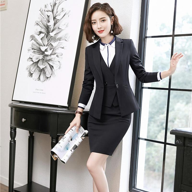 Formal Black Blazers Women Business Suits 3 Piece Waistcoat, Skirt and Jacket Sets Office Ladies Work Wear Suits
