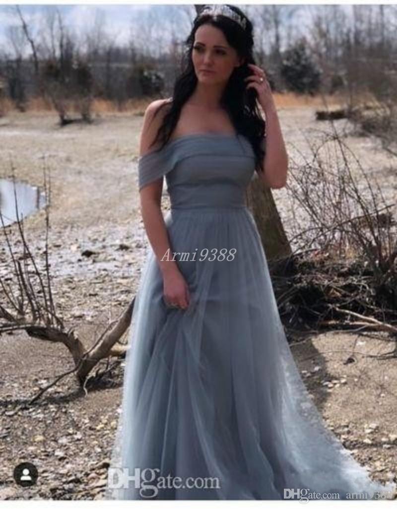 2020 Nova Dusty azul Tulle Longo Partido Vestidos Strapless Off The Shoulder formal do partido Prom vestidos de noite GownVestidos De Soiree