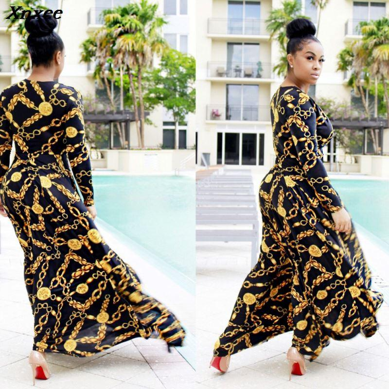 Diseño atractivo cadena de oro de impresión femme VESTIDOS las mujeres vestido de verano rico traje africano maxi prendas de vestir de largo Xnxee
