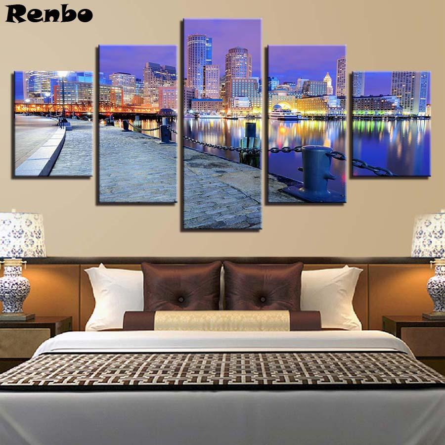 wholesale Diamond Painting 5 Pieces City Building Night View Embroidery beads Cross Stitch full round drill Rhinestone picture Pastes