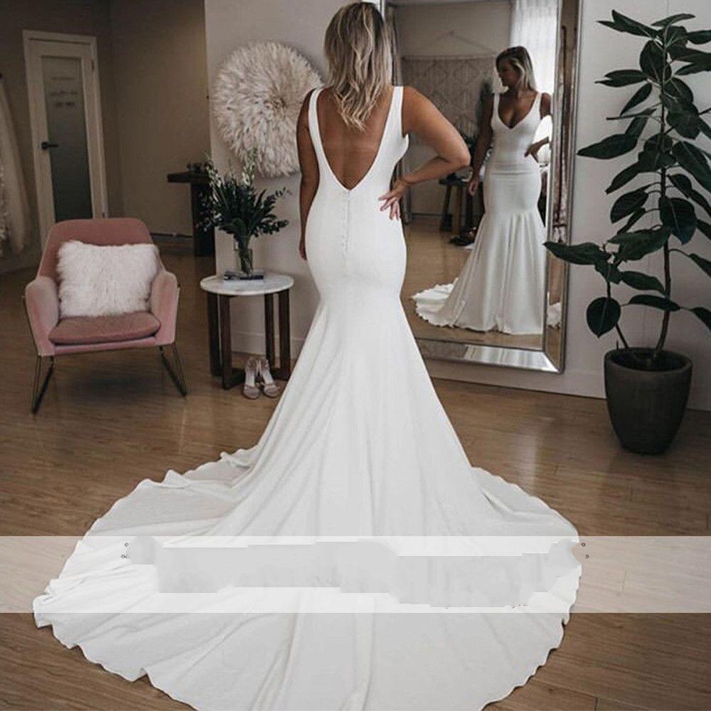 2020 Semplici abiti da sposa sirena satinati sexy scollo a V senza maniche senza schienale taglierino da sposa vestiti da sposa Vestido De Noiva