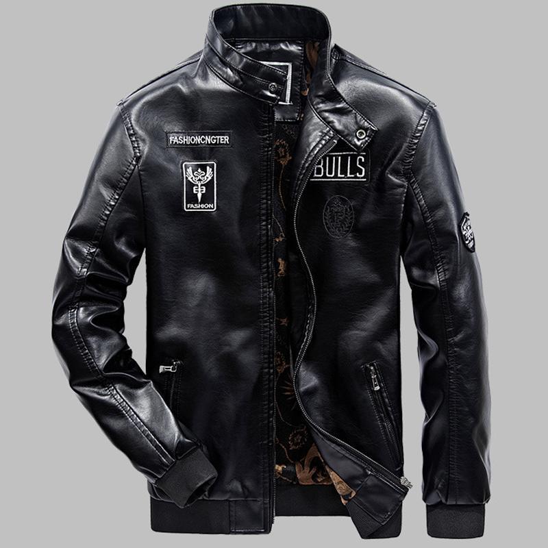 Nuovo cuoio Bulls Stampa Moto Giacche Uomo cappotto di cuoio sottile casuale cappotti Uomo Cappotti stand Collare Giacche Jaqueta