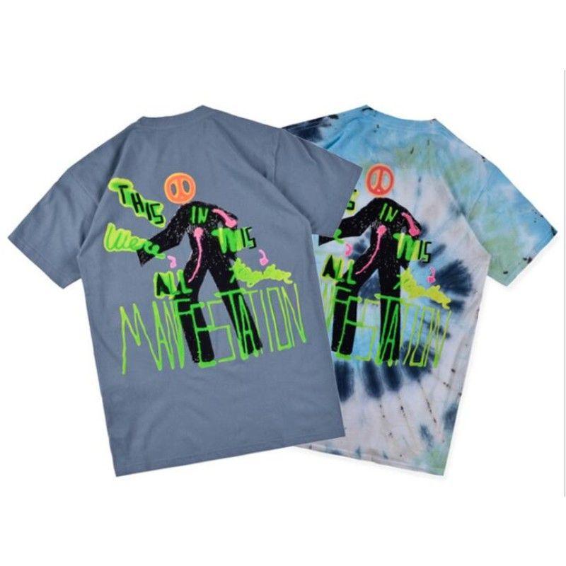 lettera Astroworld TOUR Travis Scott Estate O-Collo Mens stampa graffiti magliette a maniche corte Mens di alta qualità di Hip-hop delle parti superiori delle magliette S-XL