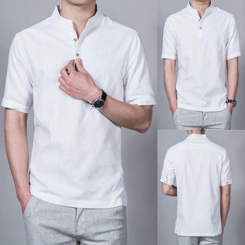 Mode homme populaire confortable Pure Color La nouvelle mode Sweat Casual manches courtes Homme doux Chemises de col mao