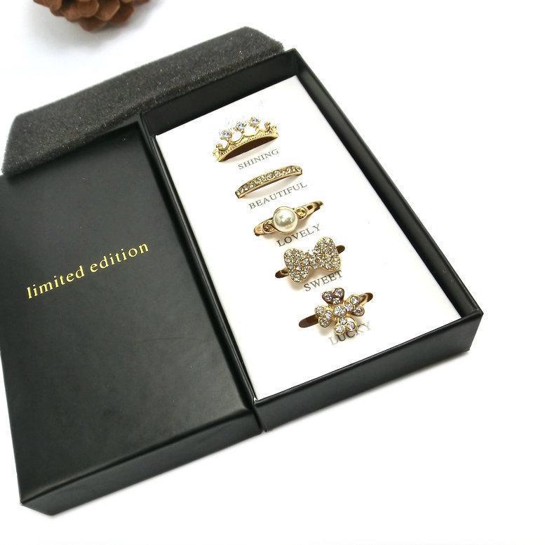 Joyería de los anillos de las mujeres del cristal plateado del oro de la perla brillante hermosa hermoso anillo Lucky dulce fija 5pcs / Set anillos de dedo del anillo de la venda de edición limitada