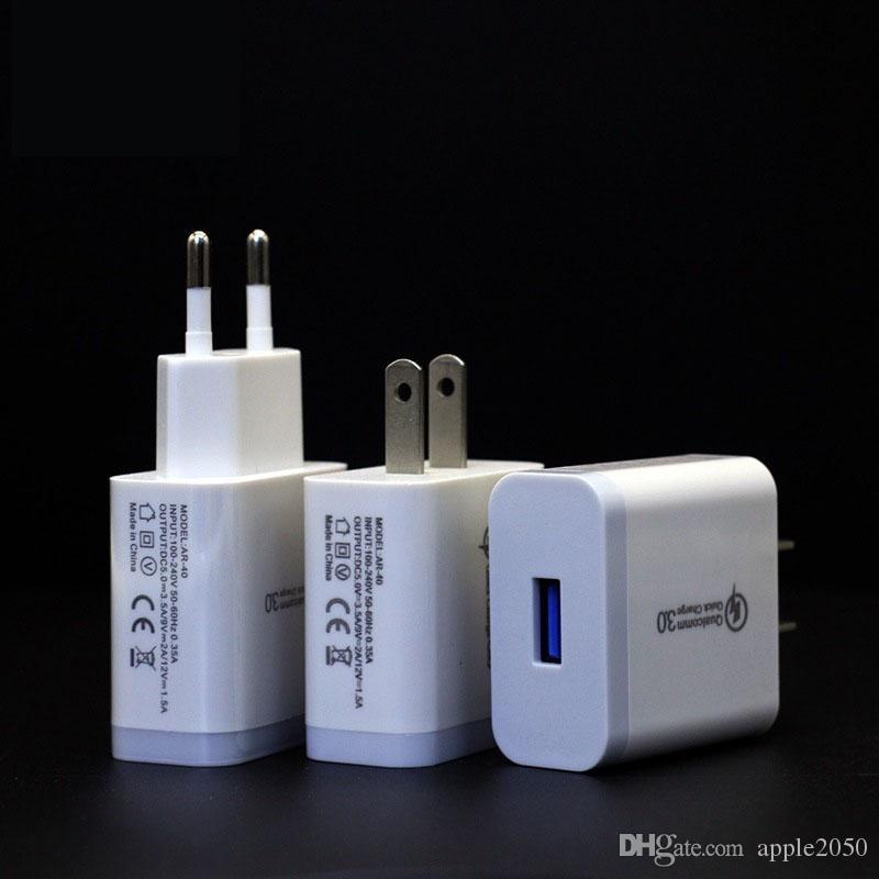 Hızlı QC 3 0 iPhone Samsung Xiaomi için Cep Telefonu Şarj Şarj 18W USB Şarj Quick Charge 3.0 QC3.0