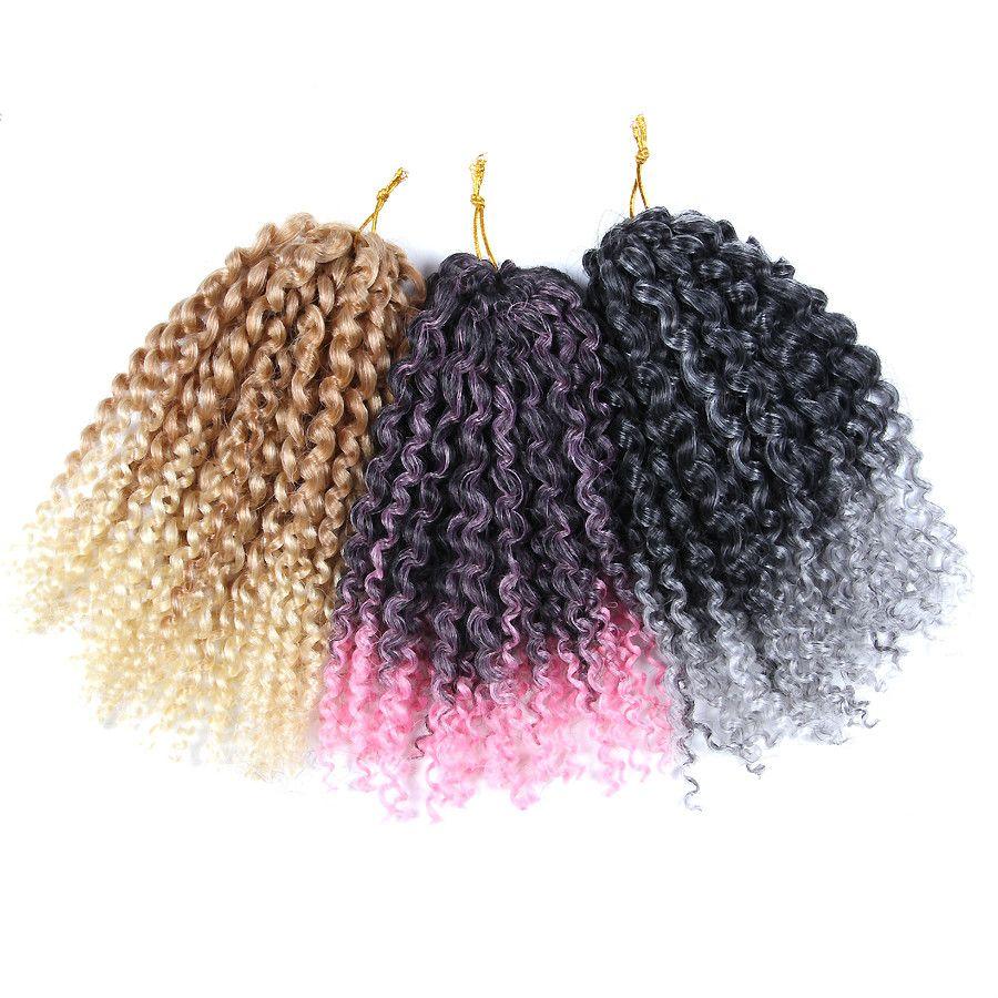 60 brins / pack 8 pouces Court Mali Bob Crochet Tresse Coiffure Bouclée Ombre Tressage Cheveux Marron Blond Rose Pourpre Couleurs