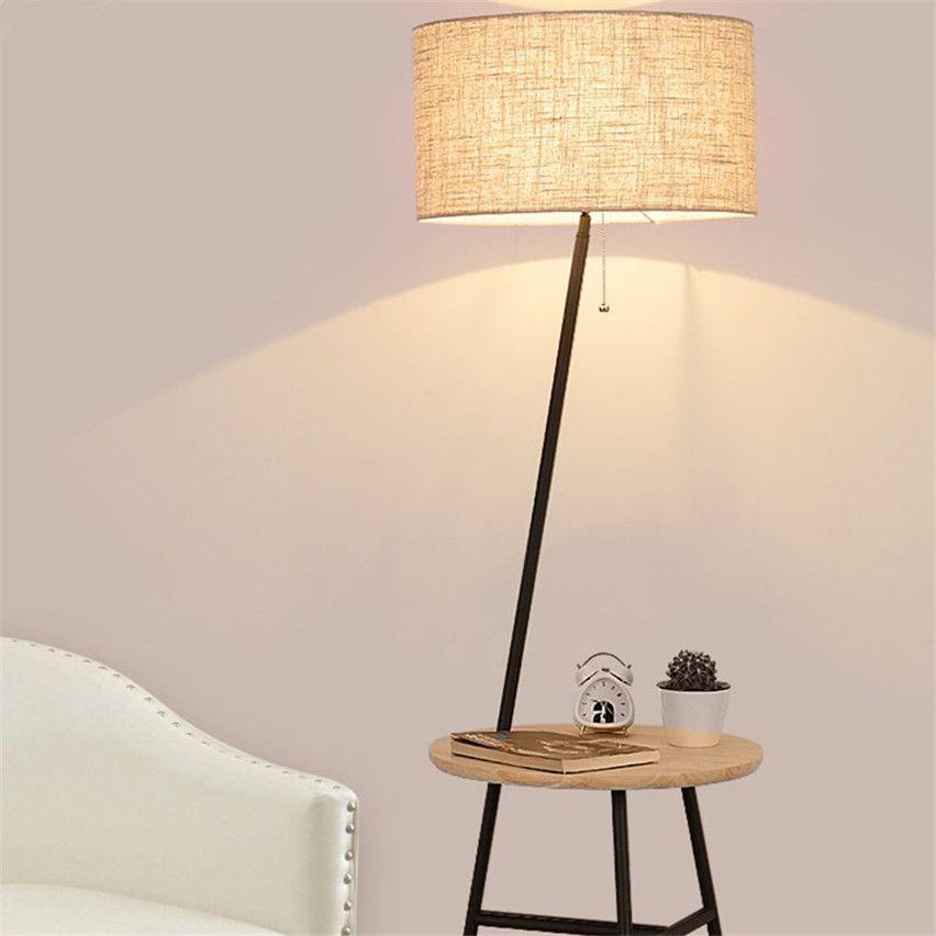 2020 Nordic Vertical Floor Lamps Racks Solid Wooden Fabric