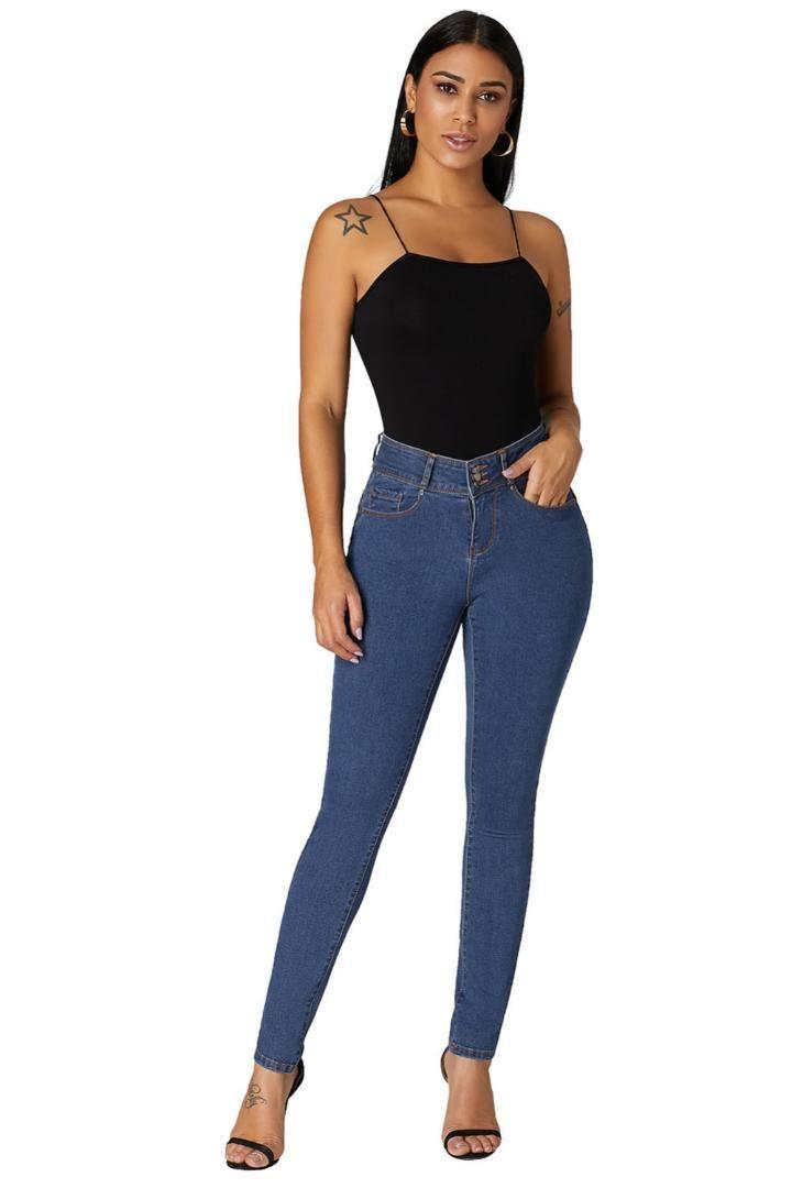Women's Trousers Pants streetwear Pencil Ladies mid Waist calf length Cuffed Butt Lifting Skinny Jeans S M L XL XXL 786015