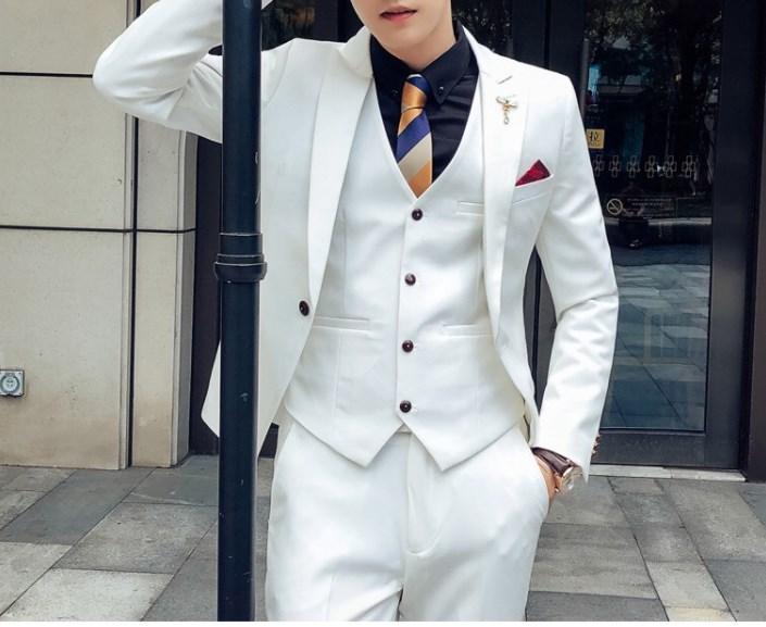 Gut aussehend Groomsmen Wolle Mischung Bräutigam Smoking Herren Brautkleid Mann Jacke Blazer Prom Dinner (Jacket + Pants + Tie + Vest) A118