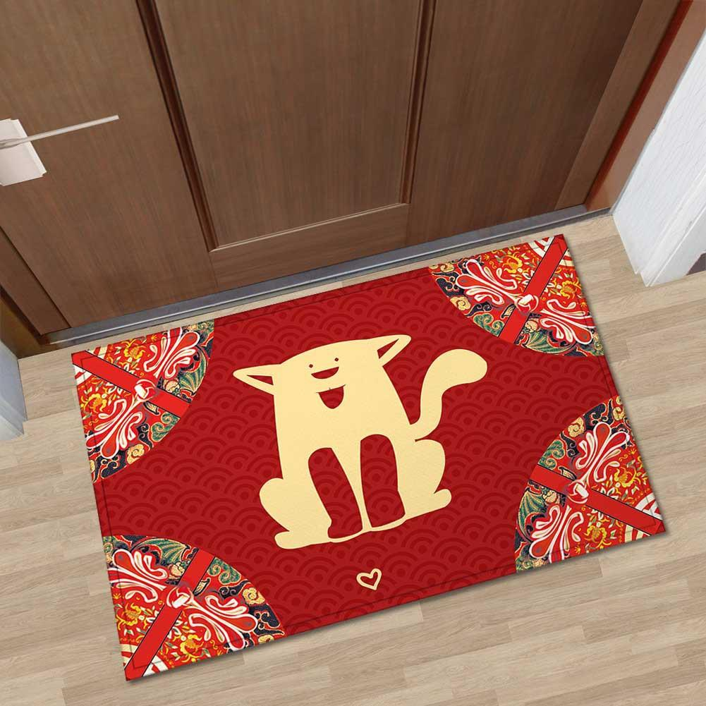 Red Printed Welcome Mats for Front Door Floor Rugs Kitchen Home Decor Mat Kitchen Rugs Washable 3D Carpet Antiskid Area Rug