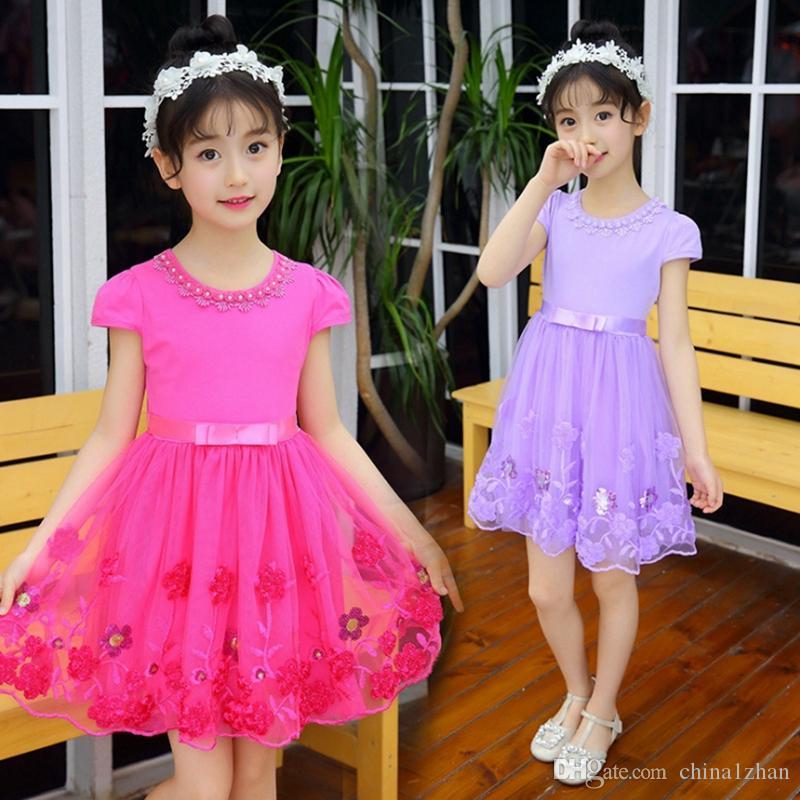 Diseñador de ropa niños niñas vestidos de flores de tul niña princesa ropa de vestir partido de los niños niños vestidos con encanto 3 colores opcionales YW3868