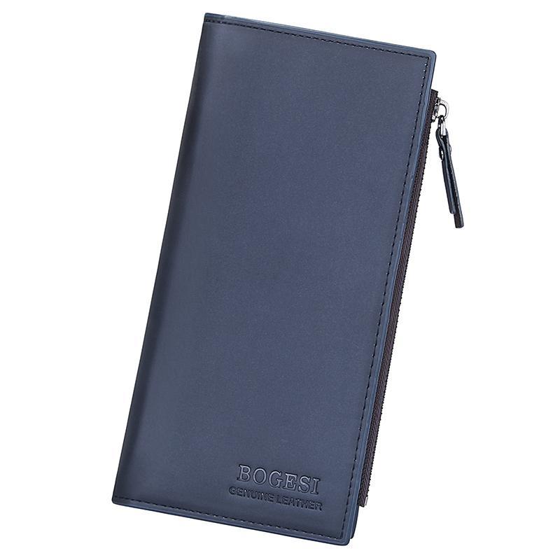 지퍼 전화 포켓 남성 돈 가방을 가진 남성 롱 클러치 은행 신용 카드 홀더 남성 빈티지 Bifold 지갑 가죽 지갑