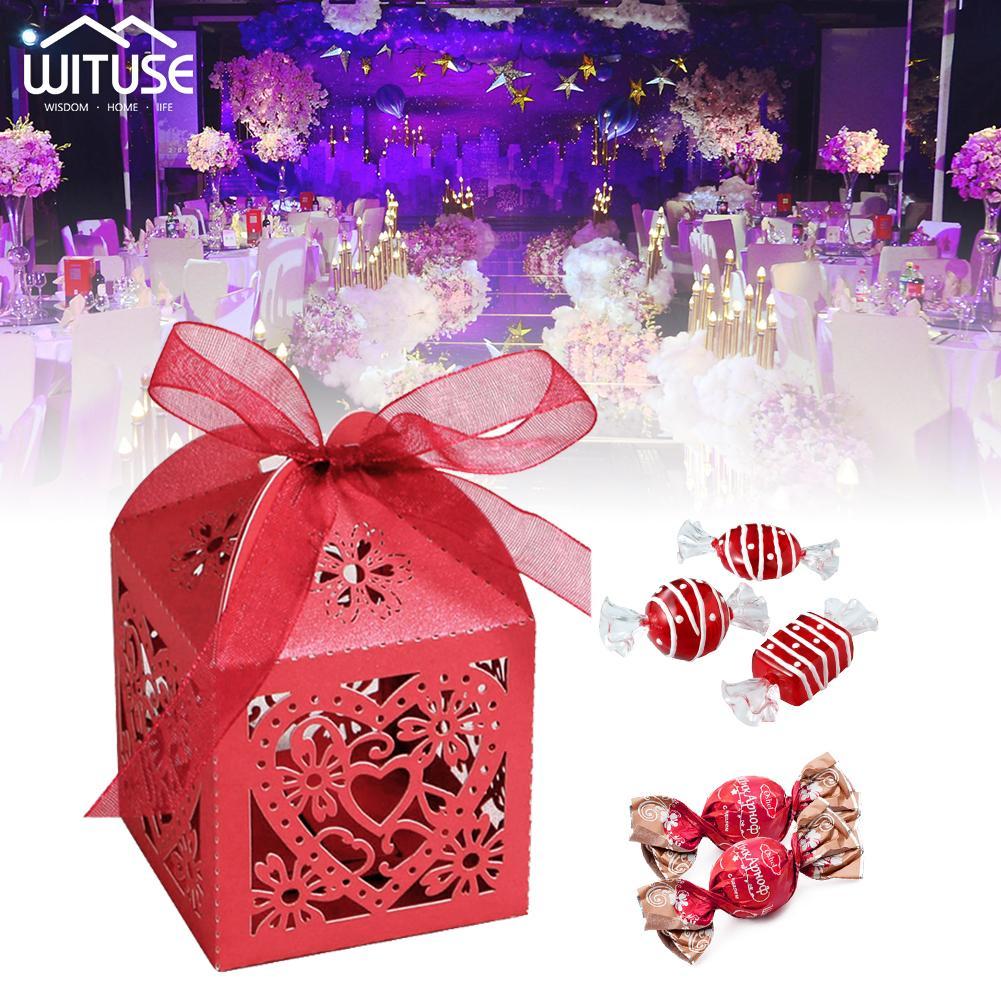 Favor 50pcs Coração do amor da fita Caixas de presente Candy Caixa Wedding Party Decor caso