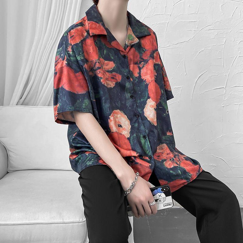 Top de manga corta de los hombres de la impresión floral flojo Cinco - Minuto mangas de la impresión floral de moda para hombre del cortocircuito del Streetwear