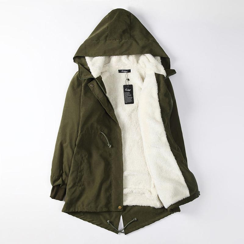 Damenmode Mit Kapuze Parka Fleece Mantel Winter Warme Langarm Mantel Weibliche Schwarz Armee Grün Lange Parkas Outwear Plus Größe 5XL
